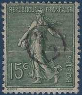 France Semeuse N°130 15c Vert Oblitéré Du Cachet à Main De Facteur 2/12  Rond RR - Marcophilie (Timbres Détachés)
