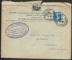 LF C32  Enveloppe De 1921 De Tours Timbre N°140 - 1921-1960: Période Moderne