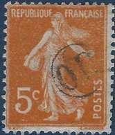 France Semeuse N°158 5c Orange Oblitéré Du Cachet à Main De Facteur OR Rond RR Sur 5c - Marcophilie (Timbres Détachés)
