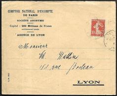 LF C36  Enveloppe De 1913 De Lyon Timbre N°138 Perforé CN - 1921-1960: Moderne