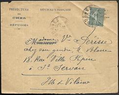 LF C37  Enveloppe De 1919 De Bourges Timbre N°130 - 1921-1960: Période Moderne