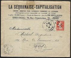 LF C38  Enveloppe De 1914 De L'Allier Timbre N°138 - 1921-1960: Période Moderne