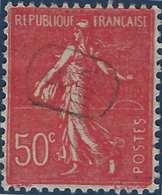 France Semeuse N°199 50c Rouge Oblitéré Du Cachet à Main De Facteur VIII/8 Hexagonal RRR - Marcophilie (Timbres Détachés)