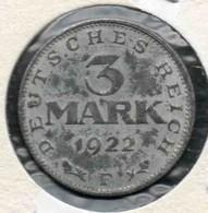 3 Marks 1922 F - [ 3] 1918-1933 : Republique De Weimar