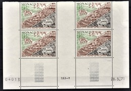 MONACO 1972 / BLOC DE 4 TP / N° 881 NEUFS** COIN DE FEUILLE / DATE - Unused Stamps