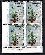 MONACO 1975 - BLOC DE 4 TP N° 1036 COIN DE FEUILLE / DATE  - NEUFS** - Unused Stamps