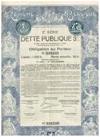 Obligation Ancienne - Royaume De Belgique - 2ème Série DETTE PUBLIQUE 3% 1925 - Titre Original -Déco - N° 119240 - Actions & Titres