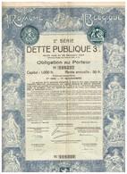 Obligation Ancienne - Royaume De Belgique - 2ème Série DETTE PUBLIQUE 3% 1925 - Titre Original -Déco - N° 119237 - Actions & Titres