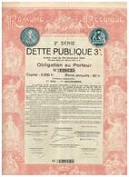 Obligation Ancienne - Royaume De Belgique - 2ème Série DETTE PUBLIQUE 3% 1925 - Titre Original -Déco - N° 128125 - Actions & Titres