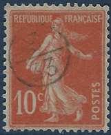 France Semeuse N°138 10c Rouge Oblitéré Du Cachet à Main De Facteur 3/33 Rond RR - 1877-1920: Periodo Semi Moderne