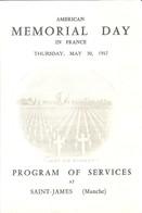 Programme De L'American Memorial Day In France - 30 Mai 1957 - Program Of Services At Saint-James (Manche) - Programmes