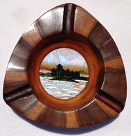 """Ashtray (1960s) 5-1/4""""wide Solid Mohogany Wood Pacific Island Pictorial Center.. - Ashtrays"""