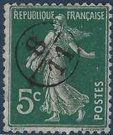 France Semeuse N°137 5c Vert Oblitéré Du Cachet à Main De Facteur 8/11 Rond RR - 1877-1920: Periodo Semi Moderne