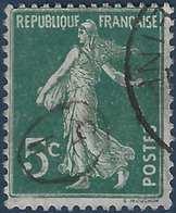 France Semeuse N°137 5c Vert Oblitéré Du Cachet à Main De Facteur Ovale RR - 1877-1920: Periodo Semi Moderne