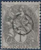 France Blanc N°107 1c Gris Oblitéré D'un Cachet De Facteur 7/14 Rond  RR - 1900-29 Blanc