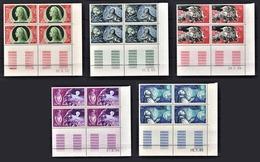 MONACO 1966 - SERIE 5 BLOCS DE 4 TP / N° 683 A 687 - NEUFS** COINS DE FEUILLES / DATES - Unused Stamps