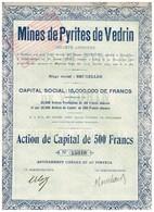 Ancien Titre - Mines De Pyrites De Vedrin (Namur) -Titre De 1929 - Mines