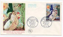 FDC France 1963 - Les Mariés De La Tour Eiffel De Chagall  - YT 1398 - 75 Paris - FDC