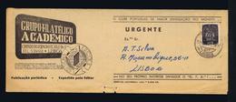 Very Rare Address/expediteur GRUPO FILATÉLICO ACADÉMICO Journal+ Additional Sheet 1953 Portugal Publicitary Cover #8063 - Other