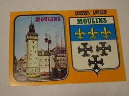 Carte Postale Blason écusson Adhésif Autocollant  Moulins Jacquemard Allier Adesivi Stemma Aufkleber Wappen - Obj. 'Souvenir De'