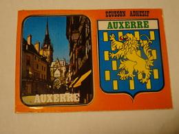 Carte Postale Blason écusson Adhésif Autocollant  Auxerre Yonne Adesivi Stemma Aufkleber Wappen - Obj. 'Souvenir De'