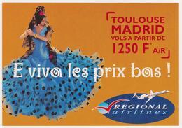 1693/ REGIONAL AIRLINES, Toulouse - Madrid (2000).- Carte Publicitaire. Advertising Card. Postañ Publicitaria. - Aviación