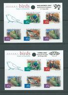 Australia 2002 Philakorea & China Stamp Expo Special Overprints On Desert Birds Peel & Stick Sheets Of 5 MNH - 2000-09 Elizabeth II
