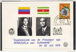 SRS31501 Surinam 1978  Special Postcard National Visiting President Of Venezuela - Surinam