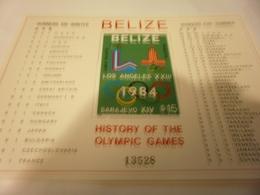 Miniature Sheet 1984 History Of Olympics - Belize (1973-...)