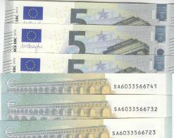 ITALIA ITALY 5 EURO 2013 DRAGHI SERIE SA 6033566741 S003F6 3/3 UNC FDS NEW BANKNOTE NUOVA BANCONOTA - 5 Euro