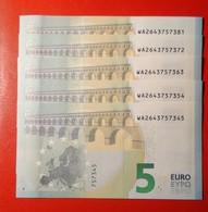 5 EURO 2013 DRAGHI SERIE WA 2643757345 W001G1 1/5 UNC FDS NEW BANKNOTE NUOVA BANCONOTA - EURO