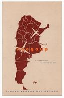 Postcard Postal Airplanes Lineas Aereas Del Estado Alas Argentinas Map Aviation - Aviazione