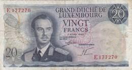 Luxembourg - Billet De 20 Francs - 7 Mars 1966 - Grand-Duc Jean - Luxembourg