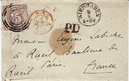 1860- Letter From Wiesbaden To Paris  Fr. Michel N°24 Alone - Tour Et Taxis
