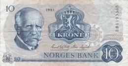 Norvège - Billet De 10 Kroner - F. Nansen - 1981 - Noruega