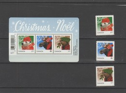 2015 Canada Christmas Full Set Of 3 And Mini Sheet MNH - 1952-.... Reign Of Elizabeth II