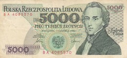 Pologne - Billet De 5000 Zlotych - 1er Juin 1982 - Fryderyk Chopin - Poland