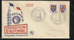 Lettre Illustrée Circulée  Paris Le 29/09/1953  Cachets Illustrés Exposition D'Automne Les N° 951; 954 ; 958; Et 959  TB - Poststempel (Briefe)