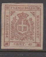 Modena S 17 1859 Arms 40c Pink Carmine, Mint Hinged - Modena