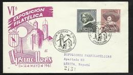 Espagne Lettre Illustrée Circulée Granollers 11-14/05/1961 Les N° 1017et1018 Exposition Philatélique Cachets +++  TB - 1961-70 Cartas