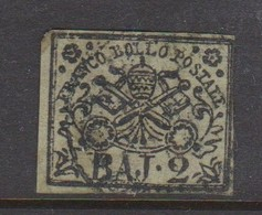 Roman States S 3 1852 Papal Arms 2 Baj Green, Used - Papal States