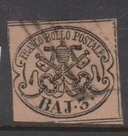 Roman States S 4a 1852 Papal Arms 3 Baj Chrome Yellow Brown, Used - Papal States