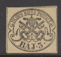 Roman States S 4a 1852 Papal Arms 3 Baj Yellow Chromee, Mint No Gum - Papal States