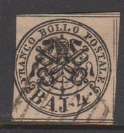 Roman States S 5a 1852 Papal Arms 4 Baj Lemon, Used - Papal States
