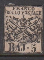 Roman States S 6 1852 Papal Arms 5 Baj Rose, Used - Papal States
