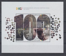 Lithuania 2019 Mi Bl 62 Used Centenary Of Lithuanian Authorites - Lithuania