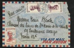 Madagascar Lettre Par Avion Tananarive Le 17/11/1949 Cachets Bleus Pour Paris Le N° 308 Et 310 X2   B/TB - Madagascar (1889-1960)
