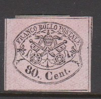 Roman States S 20 1867 Papal Arms 80c Pink, Mint Hinged - Papal States