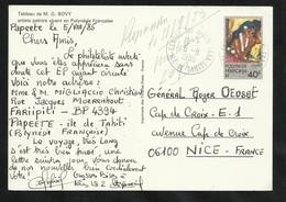 Polynésie Entier CP1 Circulé Papeete Le 05/08/1985  Pour Nice Tableau De M.G. Bovy  TB - Lettres & Documents