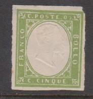 Sardinia S 13  1855 King Victor Emmanurl II, 5c Green, Mint Hinged - Sardinien